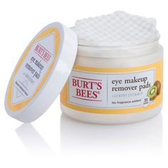 Easily remove eye makeup at home or on the go with Burt's Bees Eye Makeup Remover Pads. Perfect for all skin types, this moisturizing formula is gentle and safe enough for even contact lens wearers and leaves delicate skin around your eyes feeling clean and refreshed. Clinically shown to remove waterproof eye makeup with no rinsing needed, these natural eye makeup remover pads are safe for all skin types and even contact lens wearers. Ophthalmologist- and dermatologist-tested, hypoa...