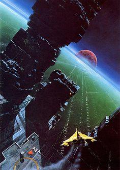retro sci fi landscape