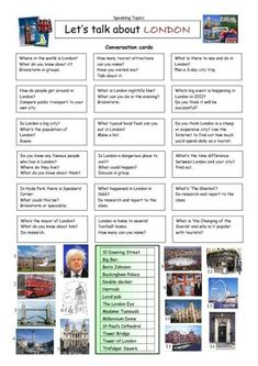 Let's Talk about London: 18 conversation cards and a matching exercise.