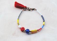 Red Tassel Boho Bracelet Seed beads Friendship bracelet