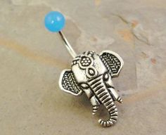 Light Blue Elephant Belly Button Ring by MidnightsMojo on Etsy, $15.00