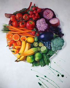 Culinary Color Wheel - colored pencil drawing by Nicole Caulfield