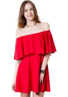 HAKKA OFF SHOULDER BARDOT FRILL DRESS | HAKKA FASHION | http://www.hakkafashion.com/dresses/13-hakka-off-shoulder-bardot-frill-dress-.html