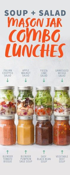 Soup and Salad Mason Jar Combo Lunches- looking for an easy way to meal prep healthy food for the week? Get some inspiration from these mason jar lunches, a quick and easy way to prep a soup & salad lunch! Mason Jar Lunch, Mason Jar Meals, Meals In A Jar, Mason Jars, Mason Jar Recipes, Lunch Recipes, Cooking Recipes, Healthy Recipes, Mango Recipes