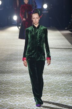 Velvet, lush meadow green. Haider Ackermann Fall 2016 Ready-to-Wear Fashion Show