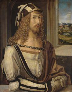 """Alberto Durero - """"Autorretrato"""" (1498, óleo sobre tabla, 52 x 41 cm, Museo del Prado, Madrid) Los artistas del Renacimiento lucharon a brazo partido para que su oficio fuese reconocido como una actividad intelectual seria, que iba más allá de la..."""