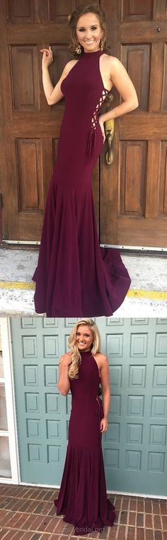 Long Prom Dresses,2018 Prom Dresses For Teens,Modest Prom Dresses Trumpet/Mermaid, High Neck Prom Dresses Jersey,Cheap Formal Evening Dresses For Women