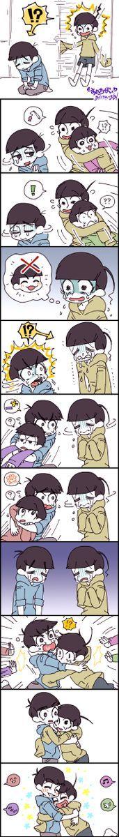 Osomatsu-san comic. Karamatsu and Jyushimatsu trying to cheer each other up