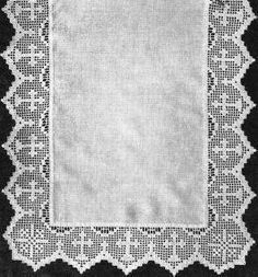 Repeating Crosses Religious Edging Vintage Filet Crochet Pattern for download