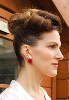 Red and gold clip on earrings