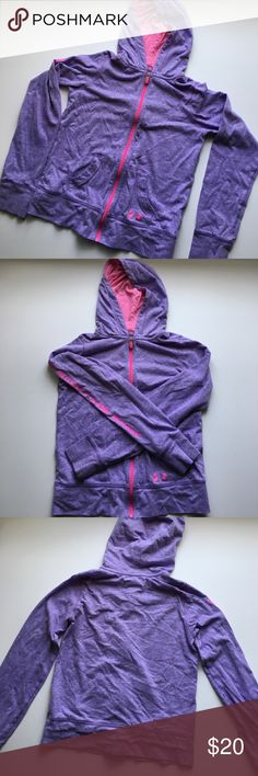 Under Armour // Zip Up Hooded Jacket - purple,pink Girls purple zip up hooded jacket from Under Armour. Hot pink zipper and inside hood. Loose fit made with cotton, polyester and rayon blend material. Has been worn in good condition. Under Armour Jackets & Coats