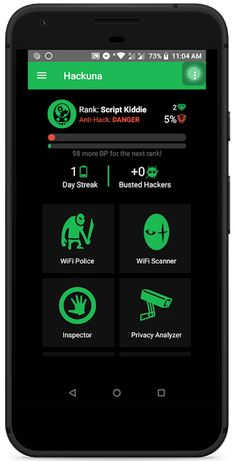 Cryptors a cyber security company invented a mobile app called HACKUNA (Anti-Hack) that can block and detect these WiFi hackers. Android Phone Hacks, Smartphone Hacks, Android Wifi, Android Codes, Android Box, Phone Codes, Hacking Tools For Android, Best Hacking Tools, Android Technology