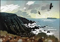 Chough circle in the evening light. Linocut by Ian Phillips.  Would make a nice landscape lesson.