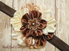 adorable satin flower cluster baby headband in brown cream and Ivory, baby headband,shabbbt chic headband,baby bows