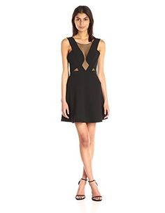 e5091fb4d17d3 BCBGMax Azria Women's Britney Cocktail Dress with Mesh, Black, Concealed  back zipper closure. Open back. Hits above the knee. True to fit.
