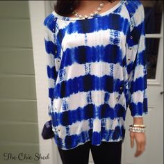 Preview! Michael Kors Blue Tie- Dye Grommet Blouse Gorgeous! Love the royal blue color! Silver tone grommets. Lovely condition! The Chic Shed; A Current and Classic Fashion Curation.  10% OFF BUNDLES I ❤️ THE OFFER BUTTON ❌NO PP, TRADES, HOLDS❌ Michael Kors Tops Blouses