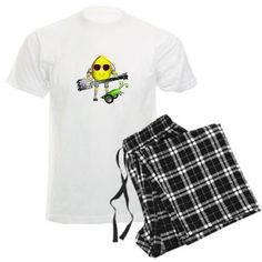 John Lemon peabot play valxart guitar Pajamas $39.09  By Valxart.com this cozy mens pajama set come with a comfy black & white plaid flannel bottom, plus your choice of black or white crew-neck tee top. The custom, personalized pajamas also make for great sweat pants.      Unisex flannel bottom is 100% cotton (4 oz) & has no fly and no pockets     Unisex T-shirt is 100% cotton (4.5 oz), tagless & with a crew neck See on Many other products at http://www.cafepress.com/valxart/10072309