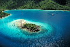 "aerial Watermelon Cay (proun """"key"""") Leinster Bay St John. St John, US Virgin Islands Caribbean."