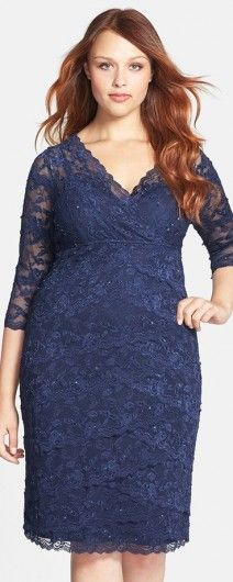 Navy BLue Three Quarter Sleeve Lace Dress (Plus Size) for Mother of the Bride