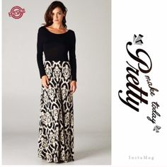 "HP 7/5GORGEOUS BAROQUE PRINT MAXI RESTOCKED! This is an exquisite dress and beautifully made. Soft polyester/spandex blend fabric. Black and white skirt, attached fabric tie can be tied in front or back. A classic. Made in USAMeasurements upon request.♦️PLUS SIZE HAS V-NECK NWOT.                                              ♦️1X: bust: 40- 46"" waist 35-42""♦️2X: bust 42-48"" waist 37-44""♦️bust 44-51"" waist 39-50"" ♦️Length: 61""PLEASE DO NOT BUY THIS LISTING! I will personalize one for you. tla2…"