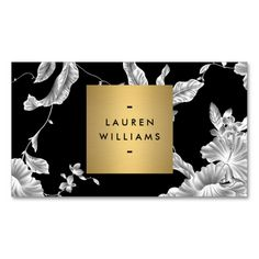 Elegant Black Floral Pattern 3 with Gold Name Logo Business Card Templates. I love this design! It is available for customization or ready to buy as is. All you need is to add your business info to this template then place the order. It will ship within 24 hours. Just click the image to make your own!