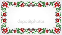Empty frame with traditional Hungarian floral motives — Stock Illusztráció #76144893