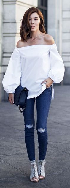 White Bare Shoulders Top Ripped Skinnies by Tsangtastic   Supernatural Style