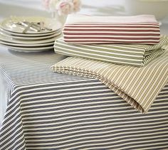 Thatcher Ticking Stripe Tablecloth #potterybarn I love this one!!!!!!!!!!!!!!!!!!!!!!!!!!
