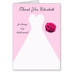 Shop Custom Pink Bridesmaid Thank You Card created by KathyHenis. Personalize it with photos & text or purchase as is! Thank You Greeting Cards, Thank You Note Cards, Custom Thank You Cards, Bridesmaid Thank You Cards, Wedding Thank You, Thank You Flowers, Card Table Wedding, Fabric Postcards, Bridal Shower Cards