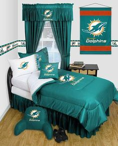 Miami Dolphins Locker Room Bedding Accessories Set