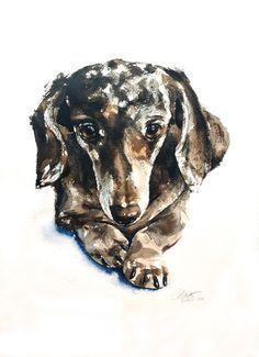 Custom pet portrait 11 x 15 original by wetnosewatercolours