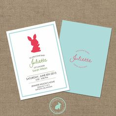 Bunny Baby Shower Invitation DIY Printables by papernoted on Etsy
