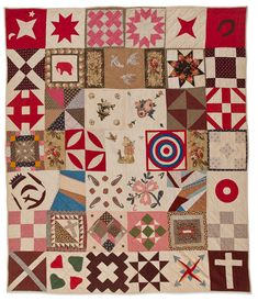 Sampler Quilt ...about 1885, Cottons Possibly New York 79 x 68 in. Collection of Eleanor Bingham Miller