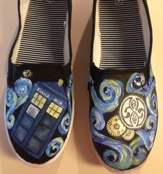 Dr. Who Painted Shoes - tardis - handpainted Dr Who - The Doctor - Dr Who Tennis Shoes - Tardis thru Van Gogh