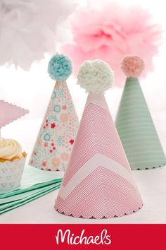 Make these DIY scalloped party hats for a girl's birthday party, inspired by our friends at Michaels®️. Pick up supplies from your nearest Michaels®️ location to make this adorable craft! Diy Birthday Party Hats, Unicorn Birthday Parties, Unicorn Party, First Birthday Parties, Birthday Ideas, 8th Birthday, Diy Party Crafts, Craft Party, Holiday Crafts