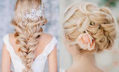 coiffures mariage 2015 avec bijoux de cheveux en strass et rose