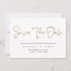 Simple Minimalist Cooper Gold Script Save The Date - tap to personalize and get yours Wedding Save The Dates, Save The Date Cards, Wedding Details, Wedding Ideas, Good Cheer, Personal Photo, Simple Designs, Script, Wedding Planning