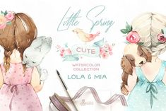 Ad: Little Spring. Cute Watercolor Set by OctopusArtis on This New Spring Collection has everything you need to creating fresh lovely designs! The Cute Watercolor Collection includes Best Friends Cute Girls, Little Girls, Commercial Fonts, Girls With Flowers, Photoshop Design, Paper Background, Nursery Art, Girl Nursery, Watercolor Flowers