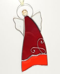 Stained Glass Suncatcher Angel 7 inch tall, red and clear color glass, silver color metal, handmade Stained Glass Angel, Stained Glass Ornaments, Stained Glass Suncatchers, Stained Glass Projects, Silver Color, Red Color, Christmas Decorations, Christmas Ornaments, Holiday Decor