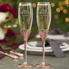 Radiant Rose Gold Etched Wedding Champagne Flute Set Of 2 Pink - The Radiant Wedding Champagne Flute Set of 2 makes a beautiful gift for any newlyweds. These flutes will be custom etched with the couple's title, last name and wedding date in choice of font. Wedding Wine Glasses, Wedding Champagne Flutes, Personalized Champagne Flutes, Decorated Wine Glasses, Wedding Gifts, Wedding Ideas, Wedding Stuff, Wedding Punch, Wedding Decor