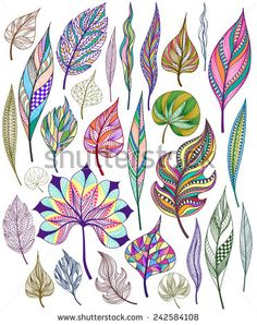 Stock Images similar to ID 111099050 - seamless pattern with colored. Dot Painting, Fabric Painting, Feather Painting, Feather Art, Feather Drawing, Doodle Art, Doodle Drawings, Leaf Art, Zentangle Patterns