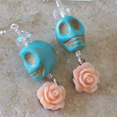 Day of the Dead Skull and Rose Earrings by VivaGailBeads