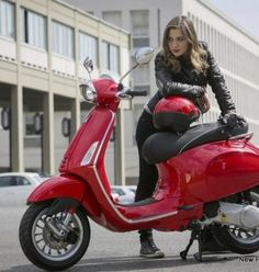 Red vespa girl scooters with photos 110