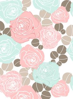 Lovely modern take on an old-fashioned rose pattern by Angela Nickeas / Hiccup Studio, via her blog http://hiccupstudiodesigns.blogspot.com.au/2010_09_01_archive.html