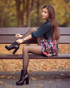 Image may contain: 1 person, shoes and outdoor Pantyhose Outfits, Black Pantyhose, Nylons, Stockings And Suspenders, Sexy Stockings, A Line Mini Skirt, Mini Skirts, Style Feminin, Hot Pants