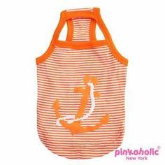 Oceanic Anchor Dog Tank by Pinkaholic - Orange