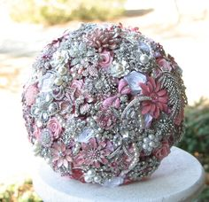 Deposit on Light Pink Wedding Brooch Bouquet - Made to order bridal bouquet - Wedding Bouquet Wedding Brooch Bouquets, Flower Bouquet Wedding, Bling Bouquet, Bridesmaid Bouquets, Rose Bouquet, Bridesmaids, Pink Silver Weddings, Alternative Bouquet, Wedding Store