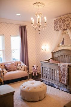 Traditional Kids Bedroom with Baxton studio glazebrook linen modern tufted ottoman, interior wallpaper, Area rug, Wall sconce