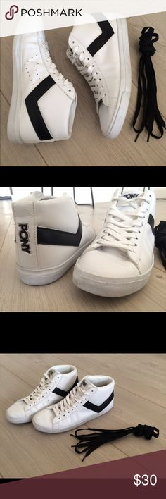 Pony Sneakers Gently worn, comes with black laces, high top! They run true to size. Pony Shoes Sneakers