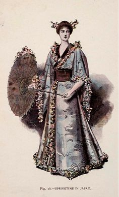 """""""Fancy Dresses Described or What to Wear at Fancy Balls (1887) by Ardern Holt; Fig. 26. - Springtime in Japan"""""""